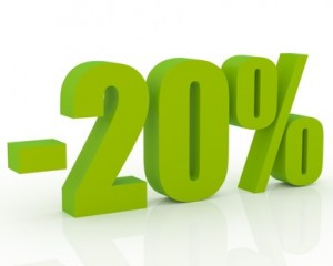 3D signs showing 20% discount and clearance.